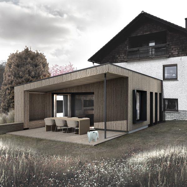 Außenperspektive Anbau an ein bestehendes Wohnhaus